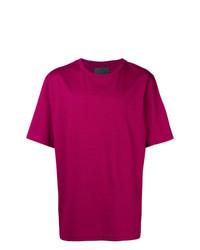 Camiseta con cuello circular estampada morado de Juun.J
