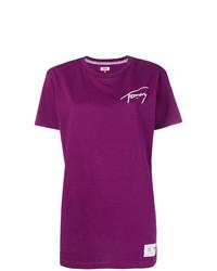 Camiseta con cuello circular estampada morado de Tommy Jeans