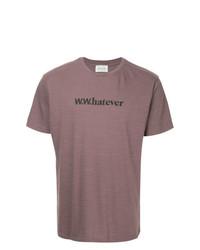 Camiseta con cuello circular estampada morado de Wood Wood