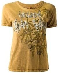Camiseta con cuello circular estampada mostaza