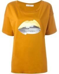 Camiseta con cuello circular estampada mostaza de Golden Goose Deluxe Brand