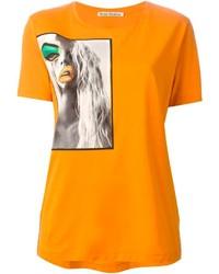 Camiseta con cuello circular estampada naranja de Acne Studios