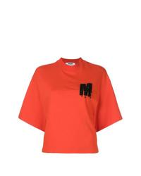Camiseta con cuello circular estampada naranja de MSGM