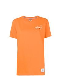 Camiseta con cuello circular estampada naranja de Tommy Jeans
