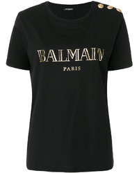 Camiseta con cuello circular estampada negra de Balmain