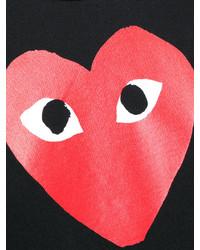 Camiseta con cuello circular estampada negra de Comme des Garcons