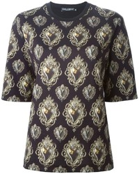Camiseta con cuello circular estampada negra de Dolce & Gabbana