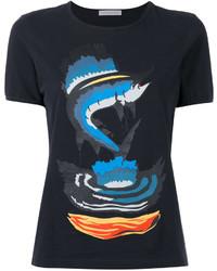 Camiseta con cuello circular estampada negra de J.W.Anderson