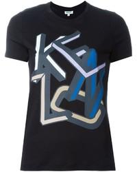 Camiseta con cuello circular estampada negra de Kenzo