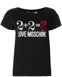 Camiseta con cuello circular estampada negra de Love Moschino