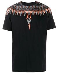 Camiseta con cuello circular estampada negra de Marcelo Burlon County of Milan