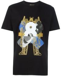 Camiseta con cuello circular estampada negra de MCM