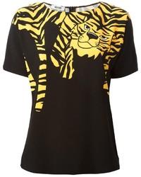 Camiseta con cuello circular estampada negra de Moschino Cheap & Chic