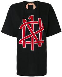 Camiseta con cuello circular estampada negra de No.21
