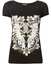 Camiseta con cuello circular estampada negra de Roberto Cavalli
