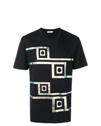 Camiseta con cuello circular estampada negra de Versace Collection
