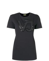 Camiseta con cuello circular estampada negra de Versace Jeans