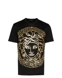 Camiseta con cuello circular estampada negra de Versace