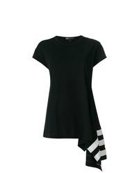 Camiseta con cuello circular estampada negra de Y-3