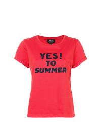 Camiseta con cuello circular estampada roja de A.P.C.