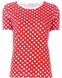 Camiseta con cuello circular estampada roja de Carven