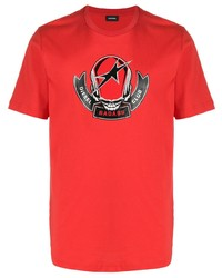 Camiseta con cuello circular estampada roja de Diesel