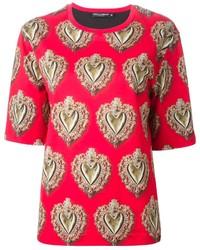 Camiseta con cuello circular estampada roja de Dolce & Gabbana