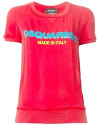 Camiseta con cuello circular estampada roja de Dsquared2