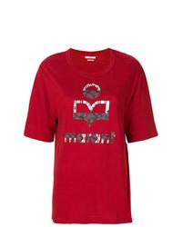 Camiseta con cuello circular estampada roja de Isabel Marant Etoile