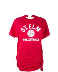 Camiseta con cuello circular estampada roja de Junya Watanabe