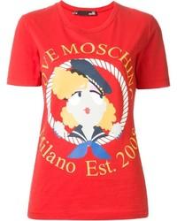 Camiseta con cuello circular estampada roja de Love Moschino