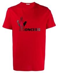 Camiseta con cuello circular estampada roja de Moncler