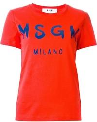 Camiseta con cuello circular estampada roja de MSGM