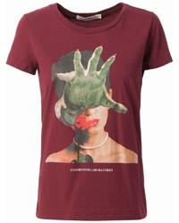 Camiseta con cuello circular estampada roja de Undercover