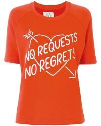 Camiseta con cuello circular estampada roja de Zoe Karssen