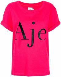 Camiseta con cuello circular estampada rosa
