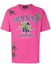 Camiseta con cuello circular estampada rosa de Creatures of the Wind