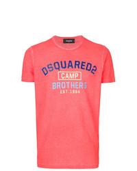 Camiseta con cuello circular estampada rosa de DSQUARED2
