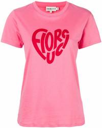 Camiseta con cuello circular estampada rosa de Fiorucci