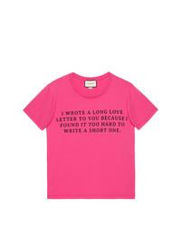 Camiseta con cuello circular estampada rosa de Gucci