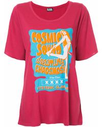 Camiseta con cuello circular estampada rosa de Hysteric Glamour
