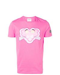 Camiseta con cuello circular estampada rosa de Iceberg