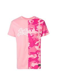 Camiseta con cuello circular estampada rosa de Les (Art)ists