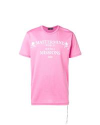 Camiseta con cuello circular estampada rosa de Mastermind Japan