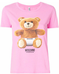 Camiseta con cuello circular estampada rosa de Moschino