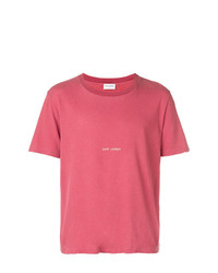 Camiseta con cuello circular estampada rosa de Saint Laurent