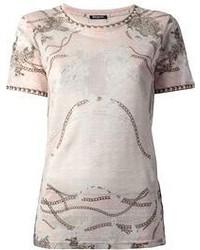 Camiseta con cuello circular estampada rosada de Balmain