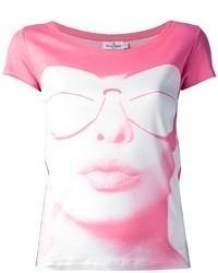 Camiseta con cuello circular estampada rosada de Courreges
