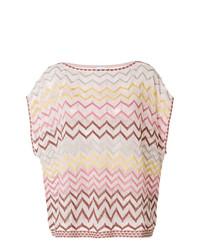 Camiseta con cuello circular estampada rosada de M Missoni
