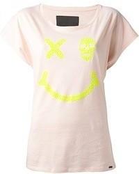 Camiseta con cuello circular estampada rosada de Philipp Plein
